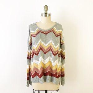 Hippie Rose Chevron Knit Sweater Fall Autumn Boho